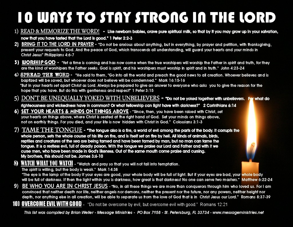 10 Ways to Stay Strong in the Lord